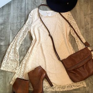 Dresses & Skirts - LACE long sleeve mini dress!